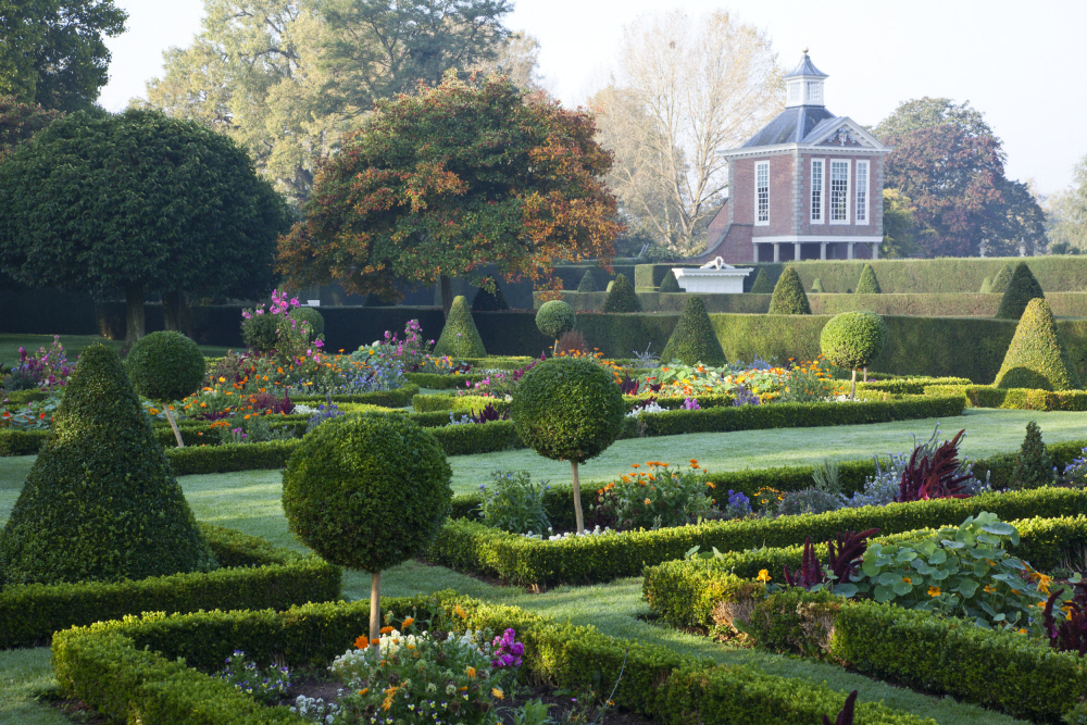 View of the Parterre at Westbury Court Garden, Gloucestershire, in September, with the Tall Pavilion (built in 1702-3) seen in the background.