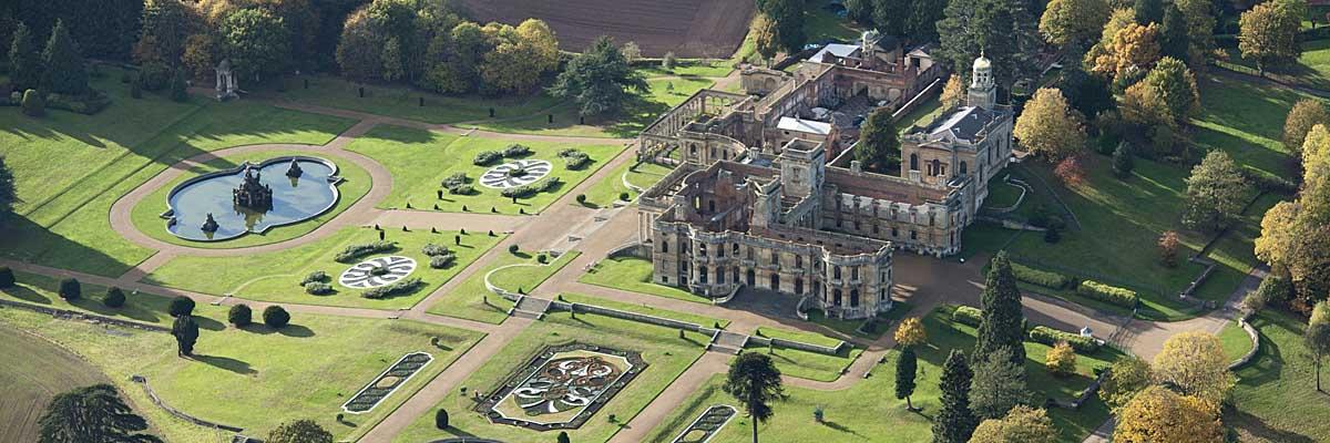 WITLEY COURT Aerial view showing the gardens 27340_003